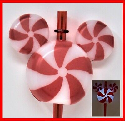 Disneyland Disney Parks 2019 Peppermint Mickey Mouse Light Up Glow Straw Topper