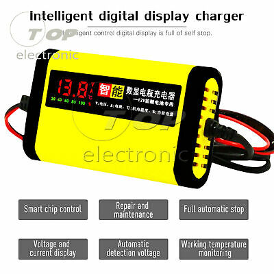 Intelligent Car Motorcycle Battery Charger 12V 2A Auto 3Stages Lead Acid AGM