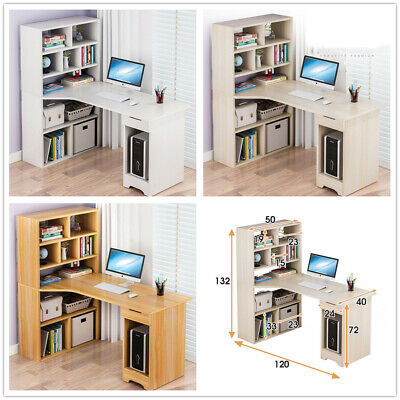 Corner Computer Desk With Shelves Home Office PC Laptop Table Study Desk Home