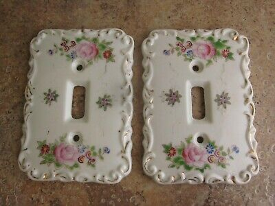 Vintage Porcelain Ceramic Light Switch Cover Plates Set of 2 Hand Painted Floral