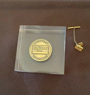 EXXON Annuitant Paperweight AND Tie Tack Pin