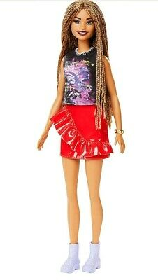 BARBIE FASHIONISTAS DOLL # 123  with Microbraided Hair Red Skirt Girl Power Top.