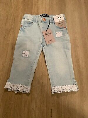 Primark Baby Girls Light Denim Lace Jeans New With Tags 6-9 Months