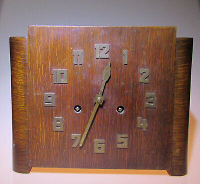 Vintage Chiming 8 day Pendulum Mantel clock square art deco with brass numbers