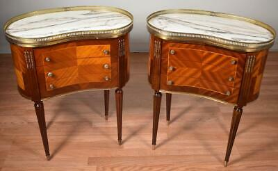 1920s French Louis XVI Walnut & Satinwood Marble top nightstands / side tables