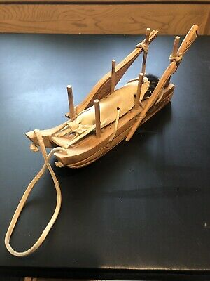 Native Inuit Style Hand Carved Wooden Dog Sled w/ Rifle & Shoes Fur Leather