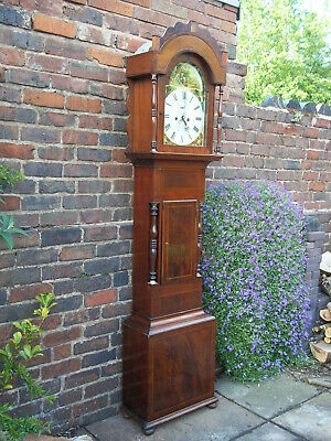 Mahogany 8 Day Longcase Clock, Painted Dial. David Jones, Merthyr Tydvil Working