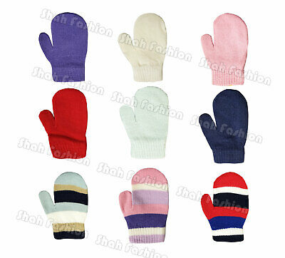 Boys Girls Childrens Plain Stripe Mittens Kids Baby Gloves Winter Warm Mittens