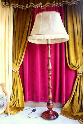 Antique Vintage French Solid Oak Wood floor lamp/light with large pigskin shade