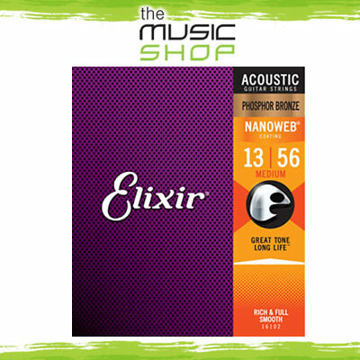 12x Elixir Nanoweb 13-56 Phosphor Bronze Acoustic Guitar Strings- 16102 Bulk Box