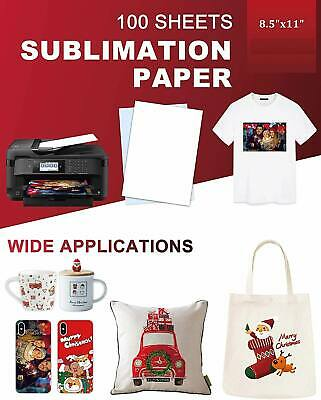 100 Sheet A4 Dye Sublimation Printer Heat Transfer Paper for Polyester Cotton US