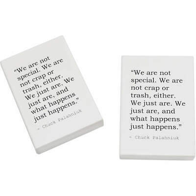 2 x 45mm Quote By Chuck Palahniuk Erasers / Rubbers (ER00003721)