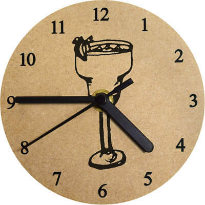 130mm 'Cocktail Glass' Small Wooden Clock (CK00023873)