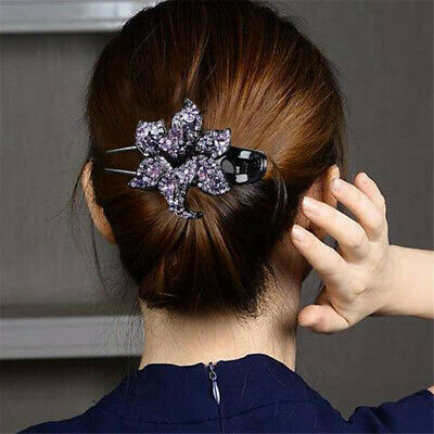Womens Bling Crystal Hair Clips Slide Flower Hairpin Comb Hair Grips Accessories