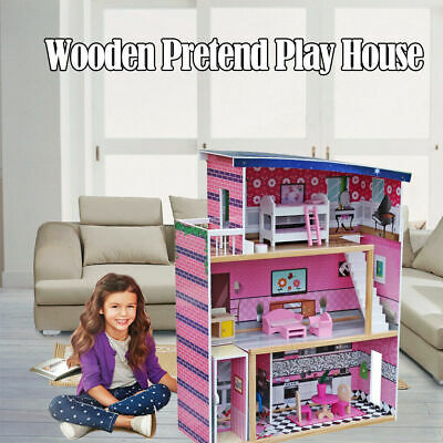 Large Children's Wooden Pink Dollhouse Fits Barbie Doll House with Furniture New