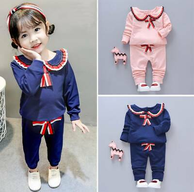 Sweet Toddler Kids Baby Girl Outfits Tops Sweatshirt Pants Tracksuit Clothes Set