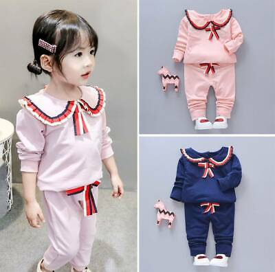 2Pcs Toddler Kids Baby Girl Outfits Tops Sweatshirt Pants Tracksuit Clothes Set