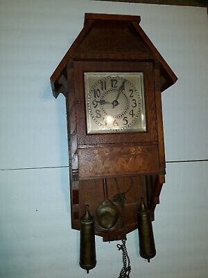 "Antique Pendulum Two Weights Wooden Wall Clock 24"" Inlay Dancing Dutch Unique"
