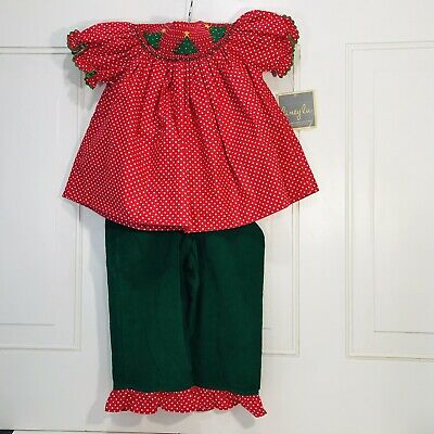 Girls 2T NWT Liney Lu Hand Smocked 2pc Outfit Green Red Christmas Holiday