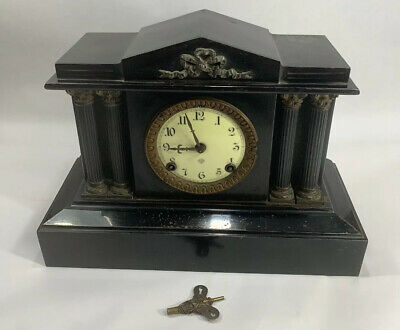 Antique ANSONIA 1882 Black Cast Iron Boston Mantel Clock Pillars Columns Grecian