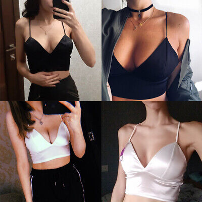 Fashion Women Vest Sexy Bra Underwear Strapped Satin Crop Top Girls Basic Tops
