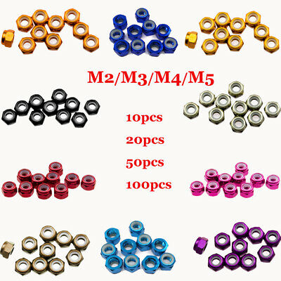 10~100x M2 M3 M4 M5 Nylon Insert Self-Lock Nuts Hex Lock Nut Aluminum CNC Nuts