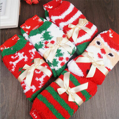 4 Pairs Christmas Ladies Soft Fluffy Lounge Cosy Bed Socks Winter Warm Xmas Gift