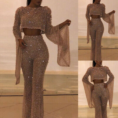 Womens Sexy Backless Sequin Jumpsuit Flared Long Sleeve Romper Wide Leg Trouser