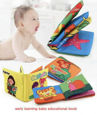 5 book set Baby Soft Cloth Book Early Educational Cartoon Animal Number Gift