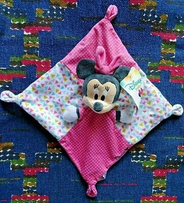 An/ Doudou Plat Disney Nicotoy Minnie Rose Triangle Pois Blanc Neuf
