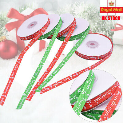 22M Happy Merry Christmas Roll Ribbon Gift Wrapping Snowflakes Ribbons 25Yards