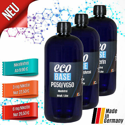 Basis Liquid + Nikotin Shots für 1L e-Liquid Base PG VG 50/50 70/30 bis 20mg