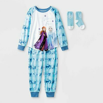 Girls' Disney Frozen 2pc Pajama Set with Socks Anna and Elsa Small Medium Large