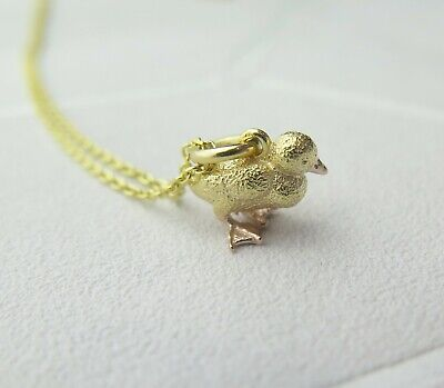 Solid 925 Sterling Silver Gold Plated Duckling Pendant Necklace