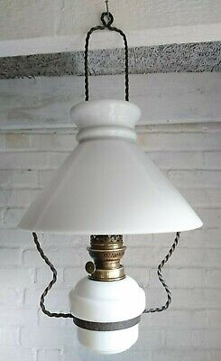 Antique Victorian Hanging Oil Lamp Chimney Milk Glass Shade.