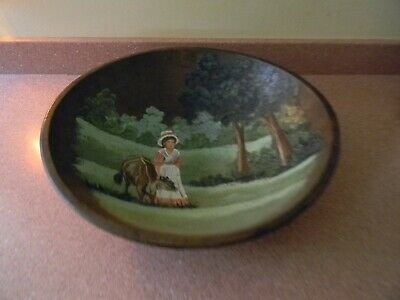 Antique Primitive Turned Wooden Dough Bowl With Hand Painting Inside / Signed