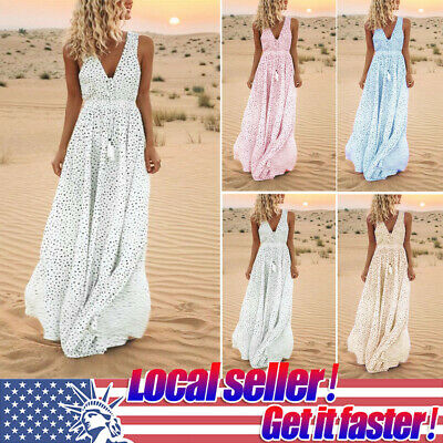 Women Summer Sleeveless Dot Print Tassels V-Neck Long Beach Boho Maxi Sun Dress