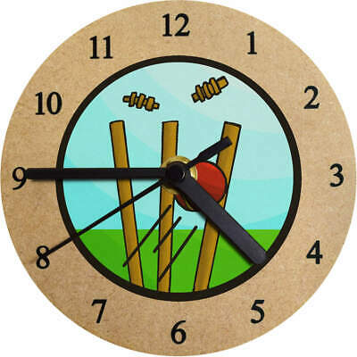 'Cricket Wickets' Printed Wooden Wall Clock (CK024738)