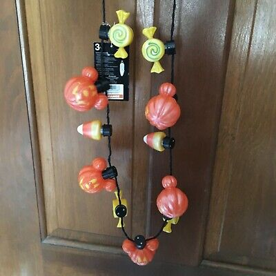 NWT Disney Mickey Not So Scary Halloween Party LED Glow Necklace Light up