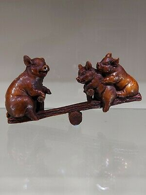 Antique Chinese Hand Carved Pigs On Seesaw Boxwood  Statue