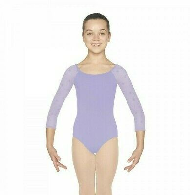Mirella Dance by Bloch, Girls 3/4 Sleeve Leotard, Lilac, Size Age 8 to 10 years
