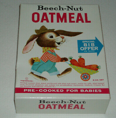 1960's Beech-Nut OATMEAL Cereal Box w/ Rabbit character