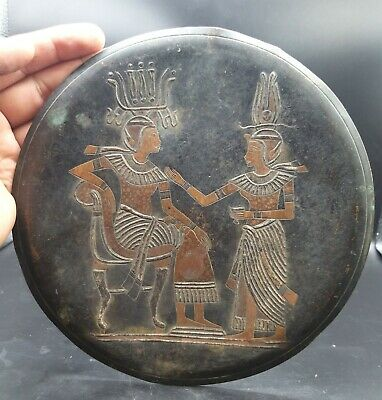 Museam Qulity Egyptian Art Antiques Sliver & Copper Enlaid Old Brass Palte
