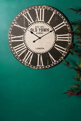 80cm Large Antique Vintage Style Round Wall Clocks Old Town Shabby Chic Wooden