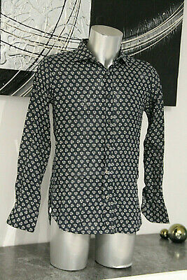 Pretty Shirt 100% Linen Navy Blue Pattern Paul & Joe Size L Mint