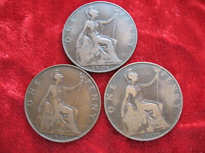 Lot of (3) English Pennys 1906, 1907 & 1908! Tough Date's! Large 3CM Coins!