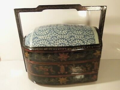 Antique 3 level Black Floral Chinese Wedding Basket Box Lacquer Porcelain Vase