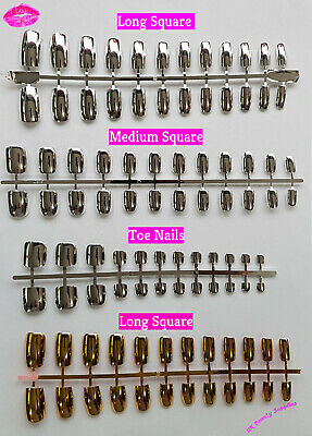 24x Mirror Chrome Metalic Square Full Cover Glue On False Nails & Toe Nails UK