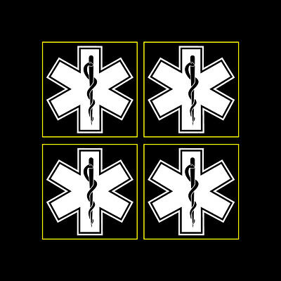 """Star of Life Blue Very Small 1/"""" Reflective Decal Sticker Sheet of 4"""