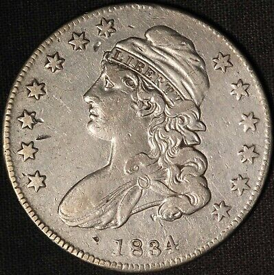 1834 50c Capped Bust Silver Half Dollar - Free Shipping USA